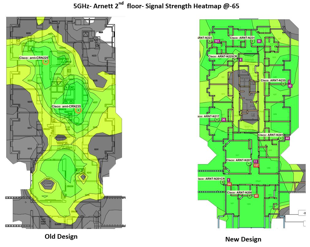 Before and after Wi-Fi signal maps of the second floor of Arnett hall.