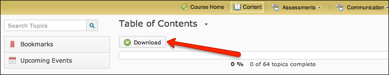 The D2L content download button in the Table of Contents section is shown.