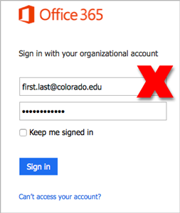 Office 365 incorrect login format visual