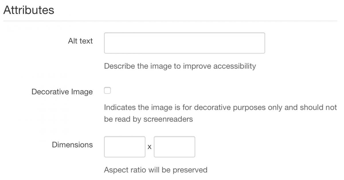 Screenshot of Attributes section which includes Alt Text field, Decorative Image checkbox and dimensions field