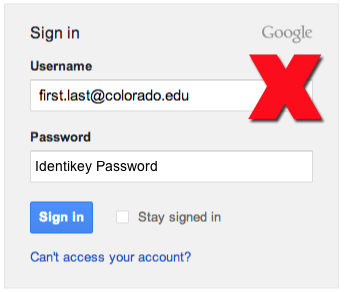 Google Apps incorrect login format visual