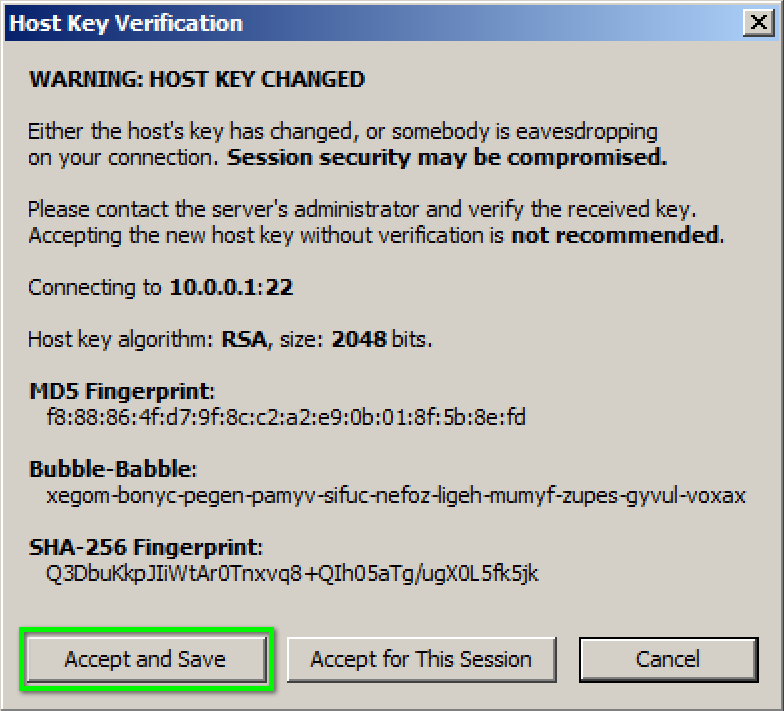 Change Host Keys Used by SSH Connections | Office of