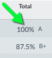 Screenshot of Total column showing achievement level after numerical grade