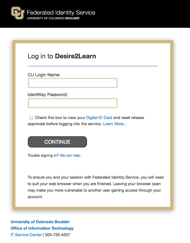 Federated Identity Service Login Page