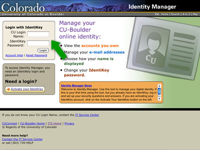 Identity Manager login page.