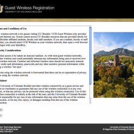 Guest Wireless Registration page