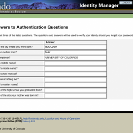 Authentication Questions