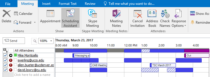 Outlook Scheduling Assistant example showing the availability of invitees from different CU campuses.
