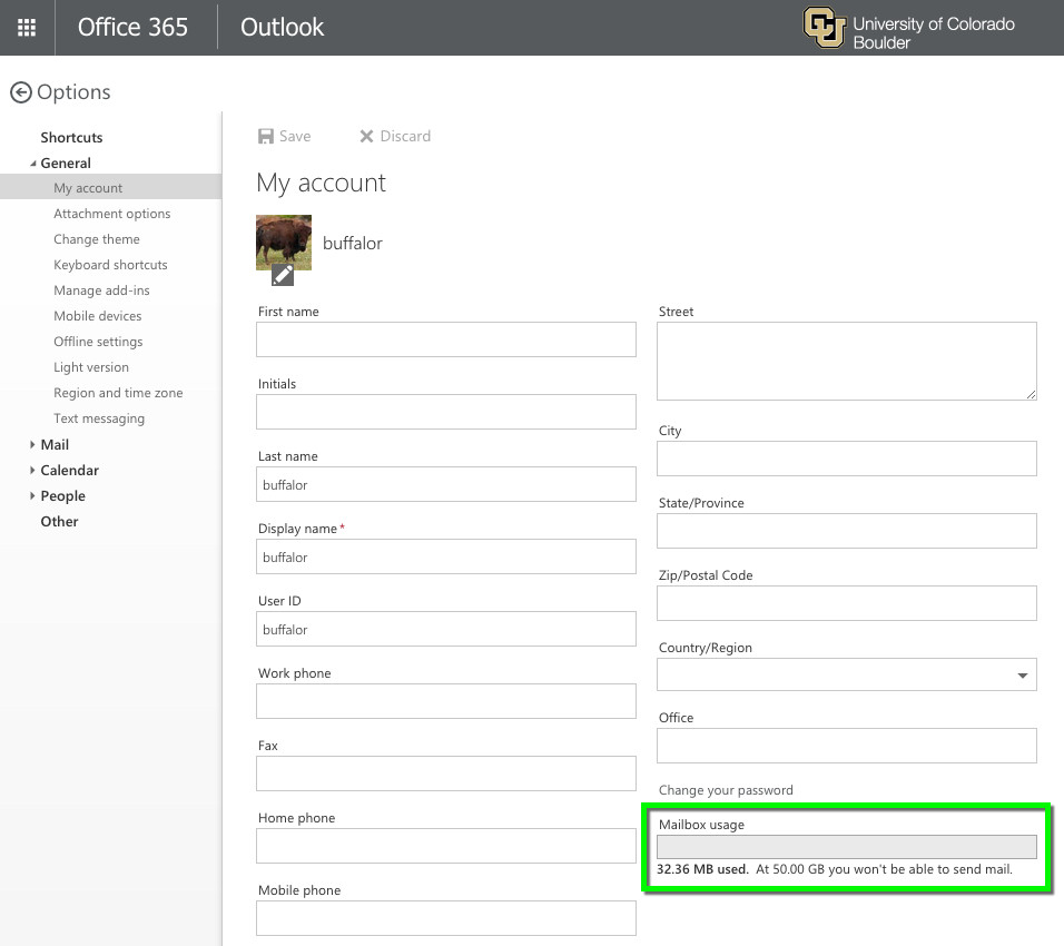 Outlook Web App - Check Mailbox Usage and Quota | Office of