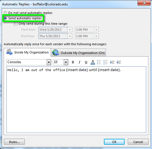 How to set up automatic reply on outlook 2013 help center - Out of office outlook 2013 ...