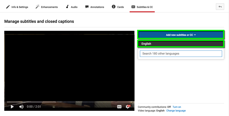 Captioning - Creating Captions in YouTube from Scratch