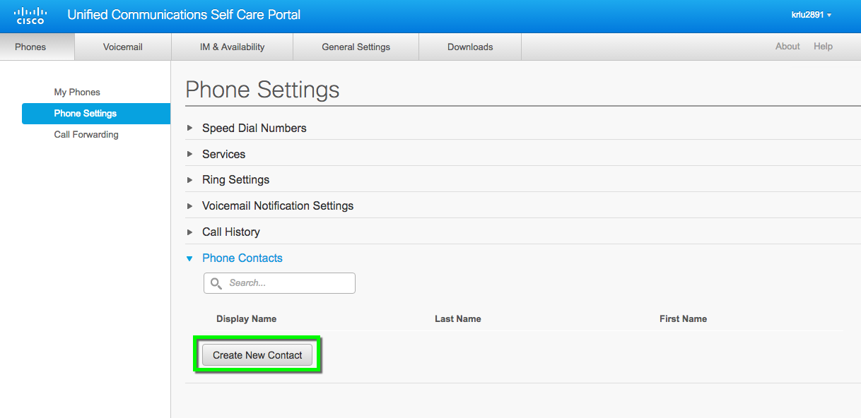 cisco voip accessing self care portal and personal directory
