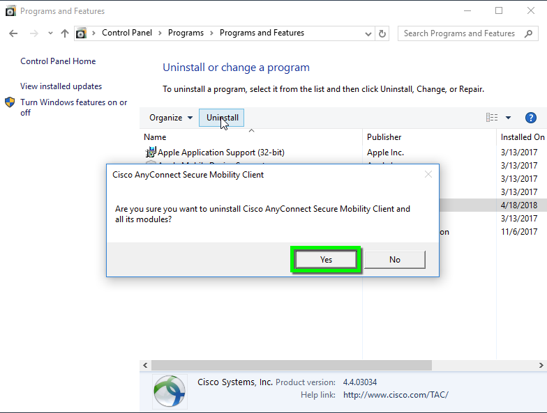 VPN - Uninstall Cisco AnyConnect Client on Windows | Office