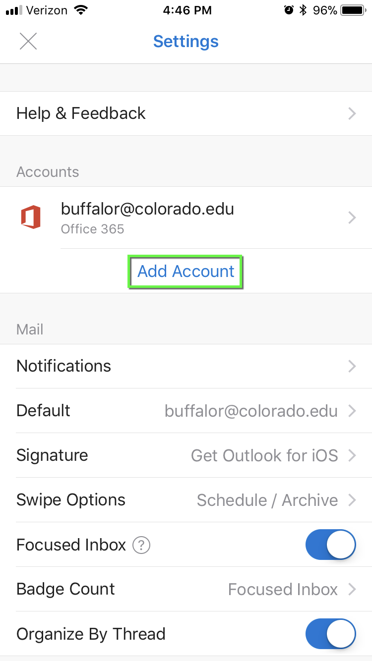 Office 365 - Outlook for iOS Configuration | Office of Information
