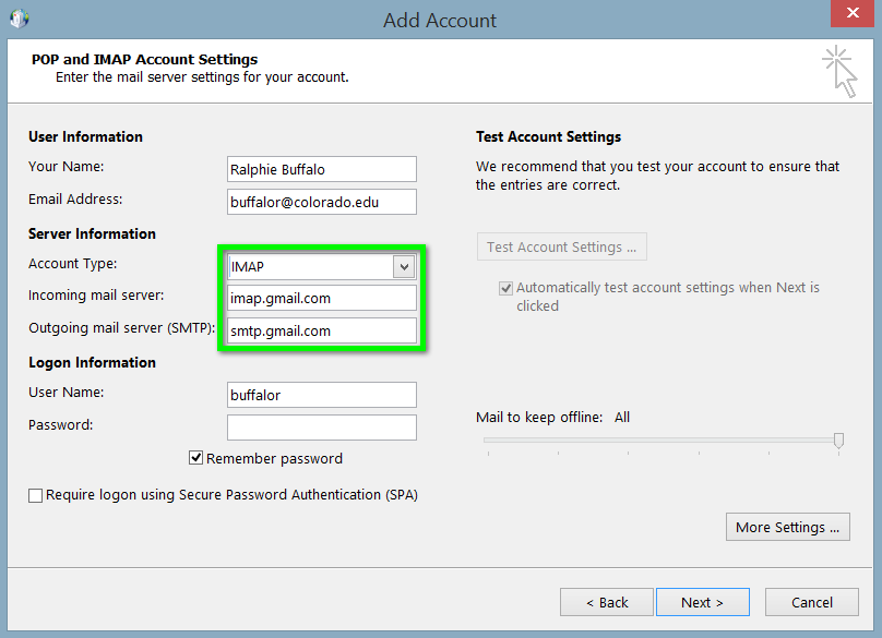 gmail pop3 and smtp settings for outlook 2013