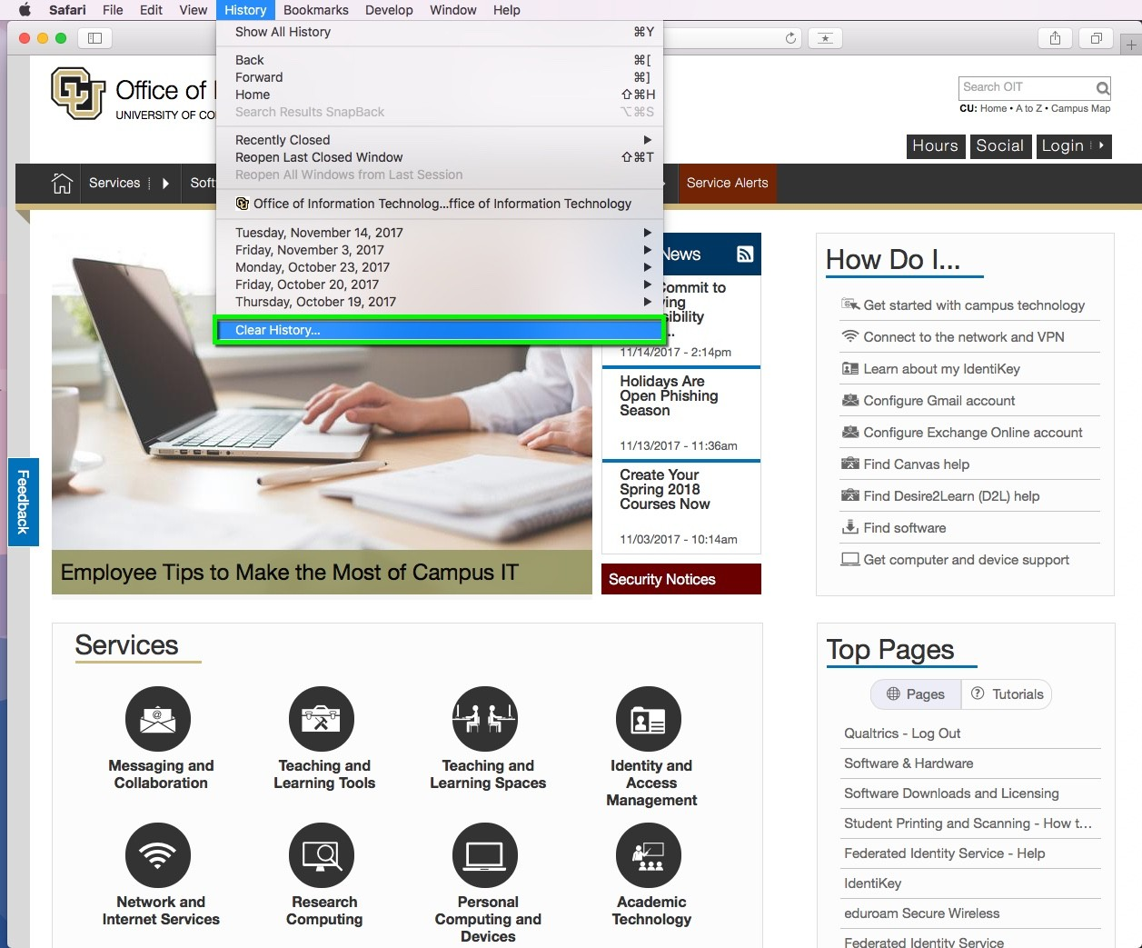 Clear the Web Browser Cache - Safari | Office of Information
