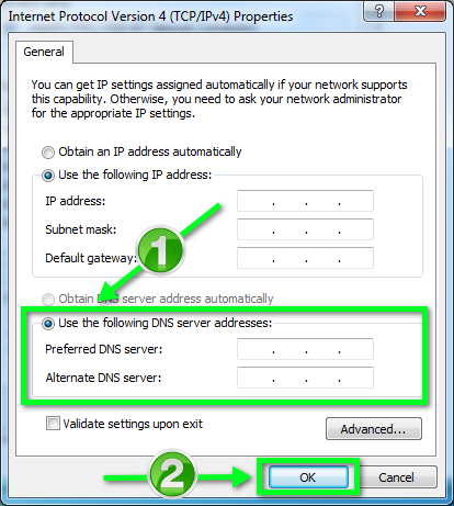 Static IP Configuration - Windows 7 | Office of Information
